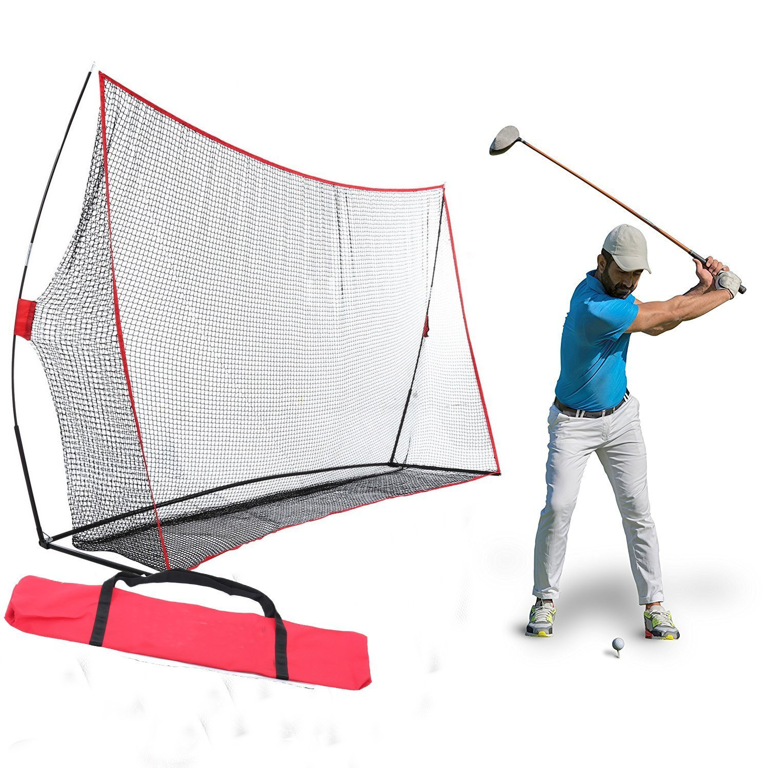 Kaluo Golf Practice Training Net with Return Bow Frame Indoor Outdoor -10 x 7 x 3ft With Carrying Bag(US Stock)