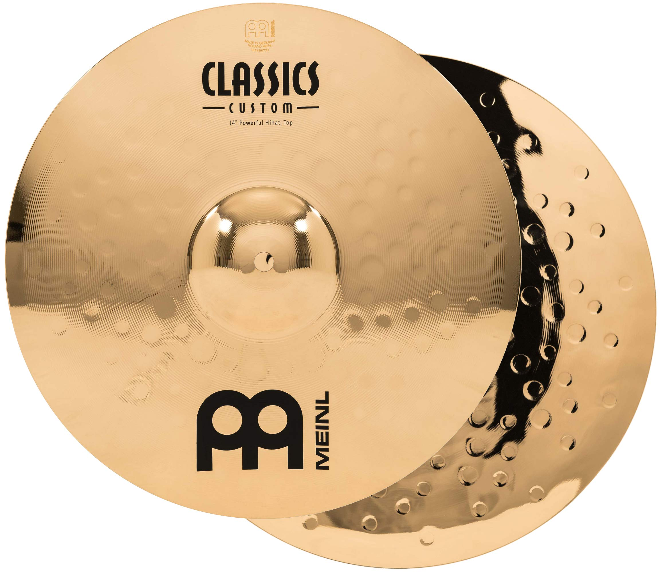 Meinl 14'' Powerful Hihat (Hi Hat) Cymbal Pair  -  Classics Custom Brilliant - Made in Germany, 2-YEAR WARRANTY (CC14PH-B)