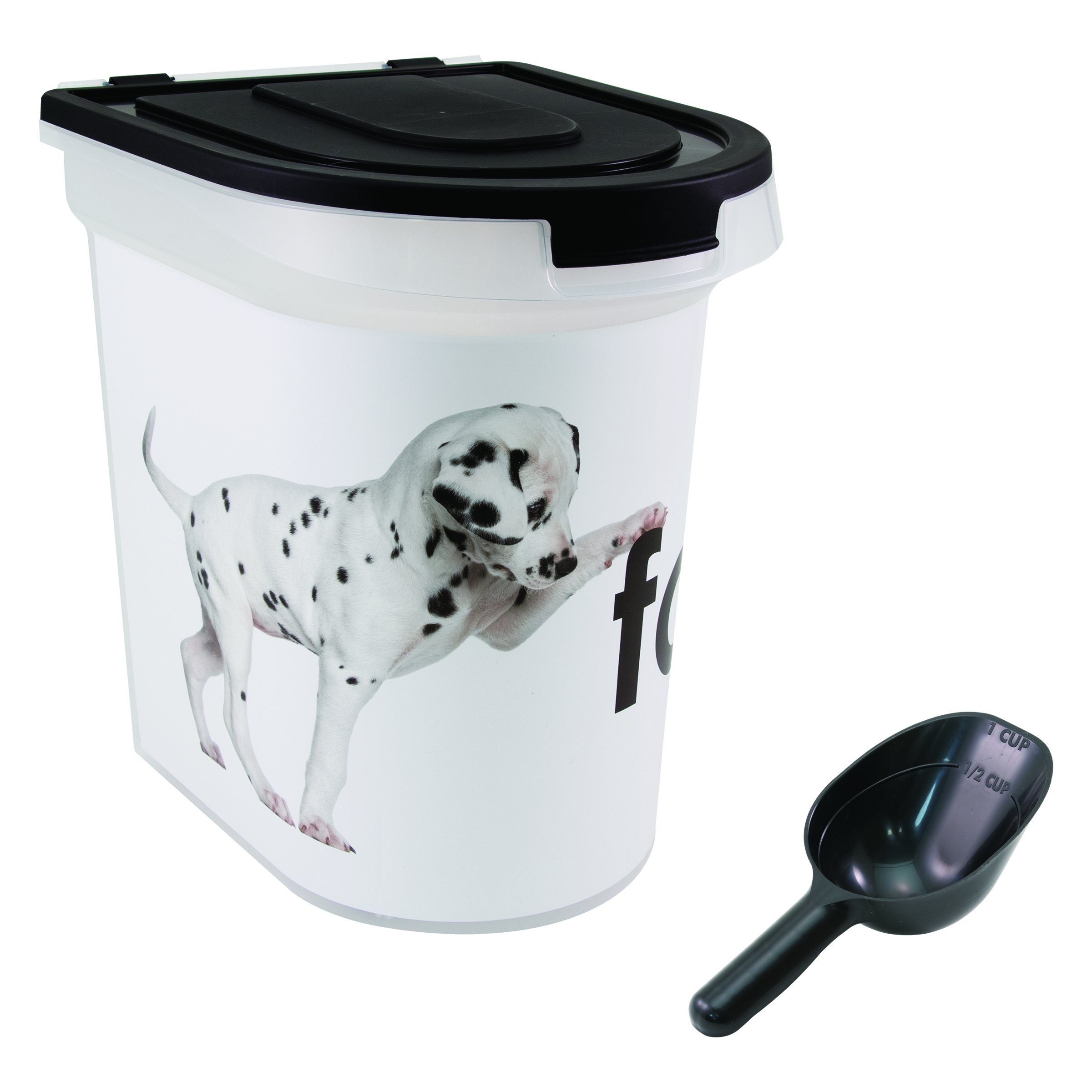 Paw Prints 26 Pound Plastic Rolling Pet Food Bin, Dalmatian Design, Includes Measured Scoop, 15.5 x 16.75 x 13.25 Inches (37583)