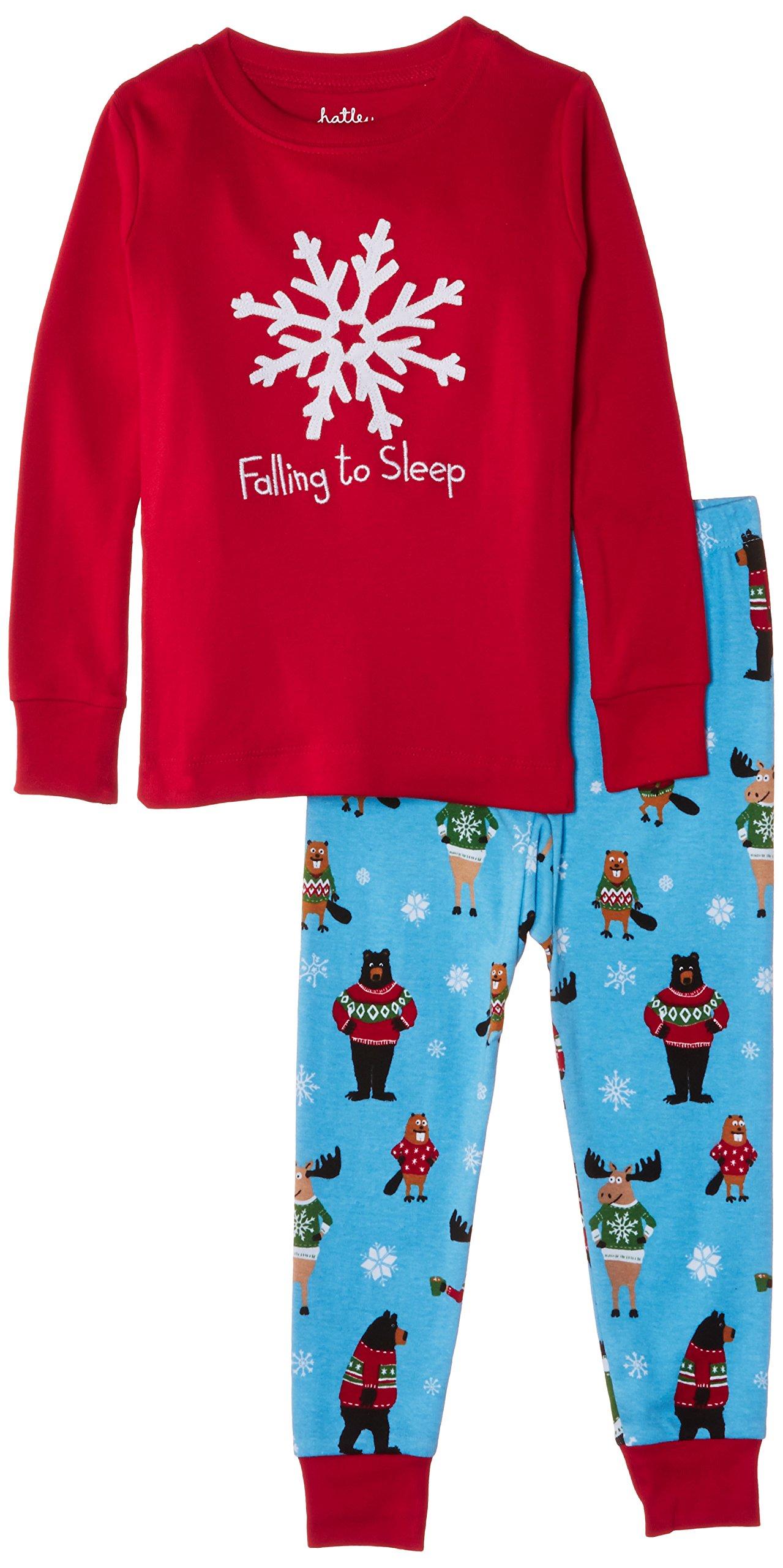 Hatley Little Girls'  Pajama Set - Falling To Sleep, Red, 2