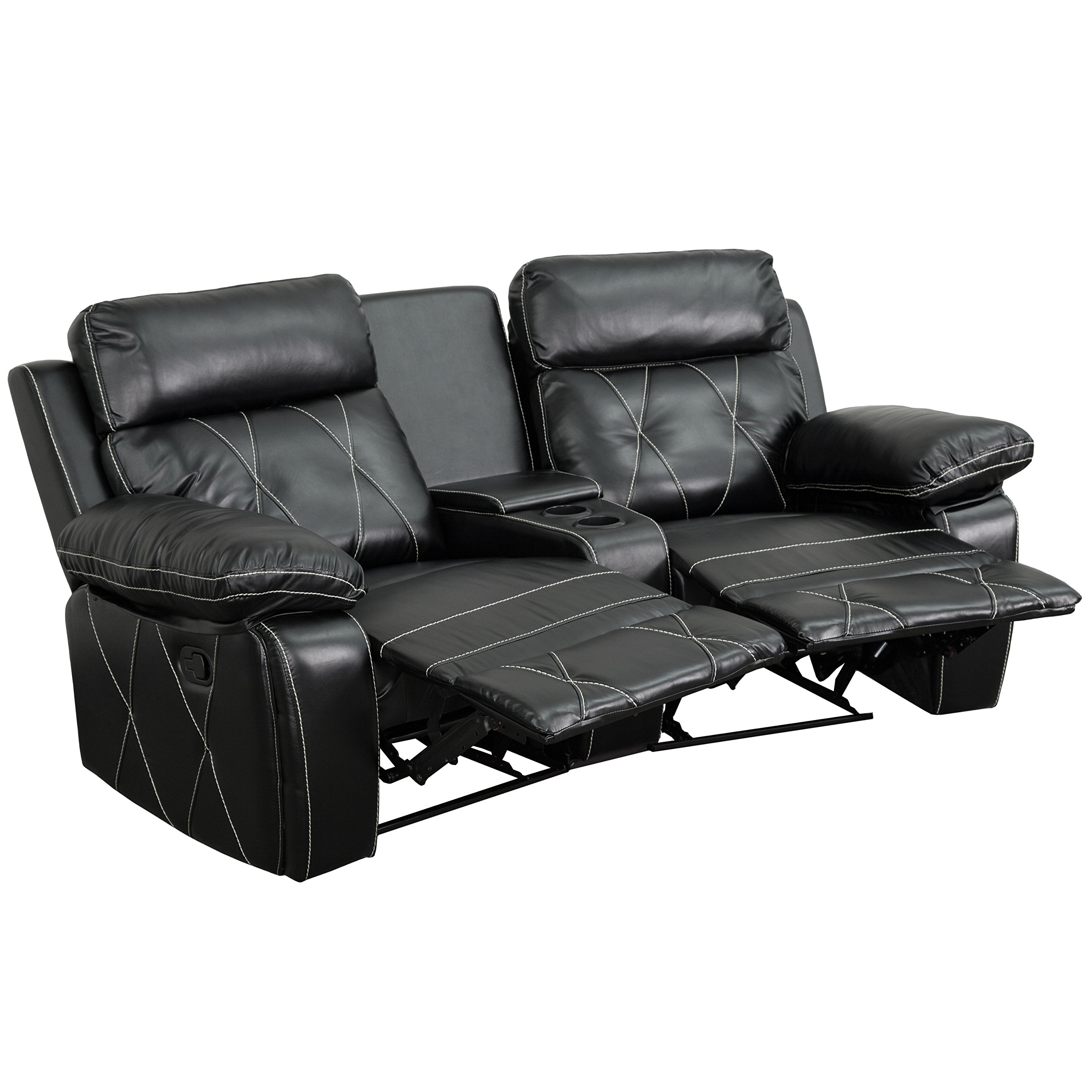 Flash Furniture Reel Comfort Series 2-Seat Reclining Black Leather Theater Seating Unit with Curved Cup Holders by Flash Furniture