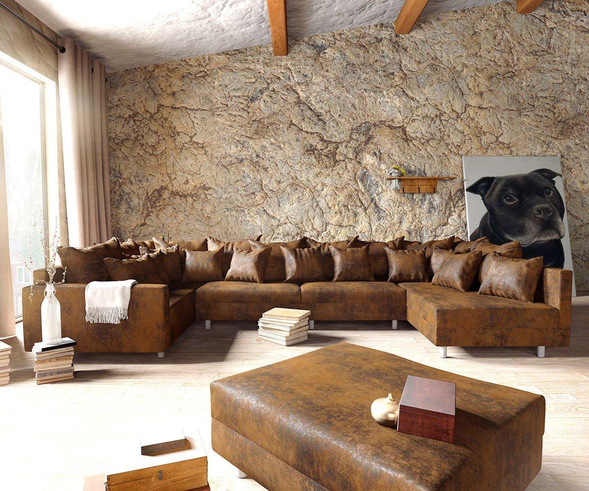 Couch Clovis XL Braun Antik Optik Hocker Armlehne Wohnlandschaft modular