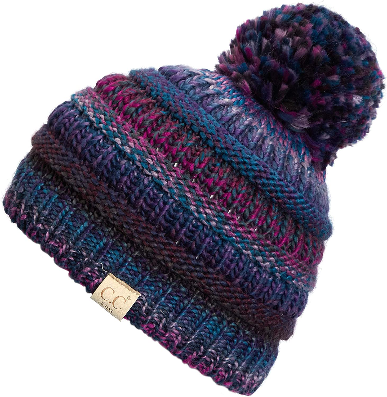 C.C Kids Beanie Ages 2-7 Warm Chunky Thick Stretchy Knit Slouch Beanie Skull Kids Hat with Pom (YJ-847-POM)
