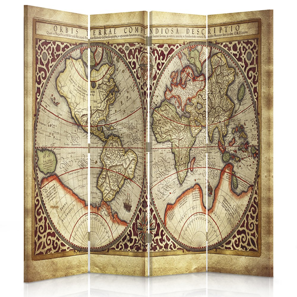 Feeby Frames Canvas Screen, Decorative RoomDivider, Paravent, Single sided, 4 panels (145x180 cm) WORLD MAP, GLOBE, WORLD, PLANET, VINTAGE, BROWN