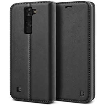 newest 3b890 f28dd LG K8 Case, BEZ® Protective PU Leather Wallet Flip Case Cover for LG K8  with Card Holders, Kick Stand, Magnetic Closure - Black