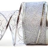 Wire Edged Ribbon Silver Sheer Organza Gift Wrap Ribbon Metallic Wired Trim & Glitter Decorative White 50 Yards x 2.5 inch Wi