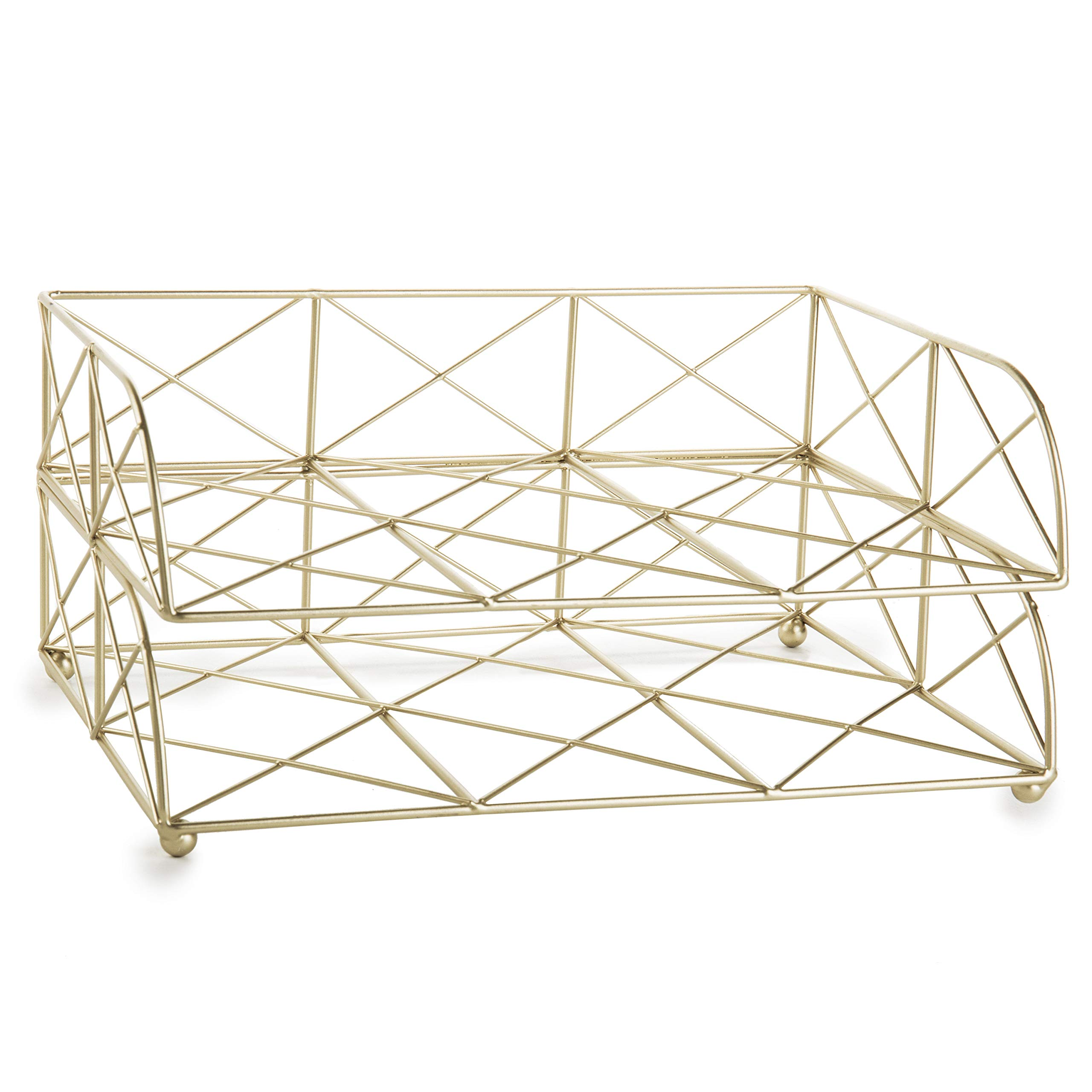 MyGift 2-Tier Geometric Light Gold-Tone Metal Desktop Stacked Letter Tray by MyGift (Image #6)