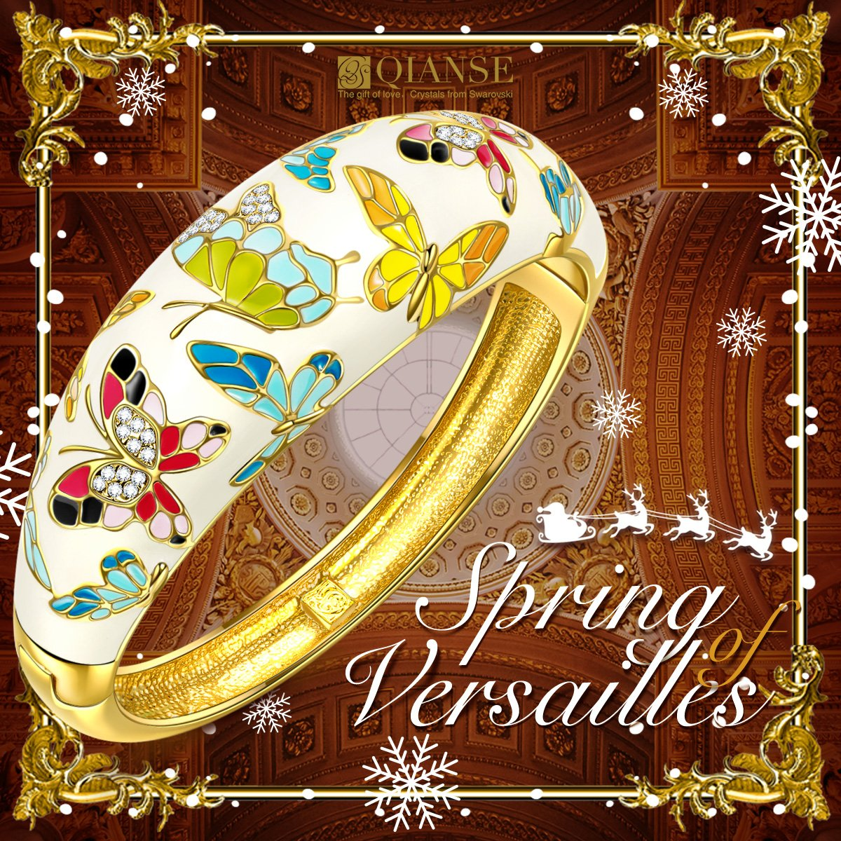 QIANSE Spring of Versailles Yellow Gold Bangle Bracelets Enamel Butterfly Bangles for Women Jewelry for Women Birthday Gifts for Mom Girlfriend Daughter Grandma Mother in Law Present by QIANSE (Image #5)