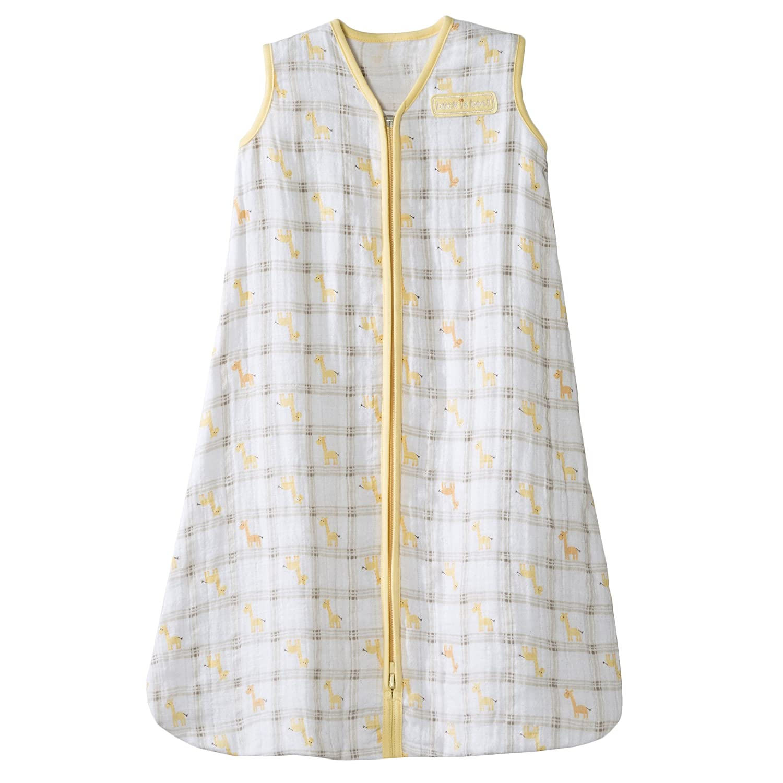 HALO 100% Cotton Muslin Sleepsack Wearable Blanket, Giraffe Plaid, Medium