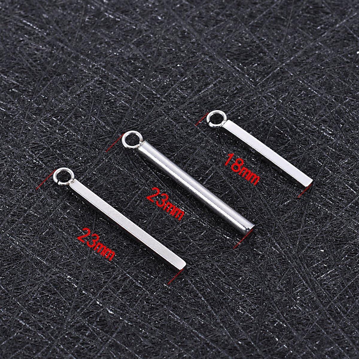 15 St/ück silberfarben edelstahl 18mmx1.5mm Edelstahl YC-Arts Charm-Anh/änger f/ür Schmuckherstellung