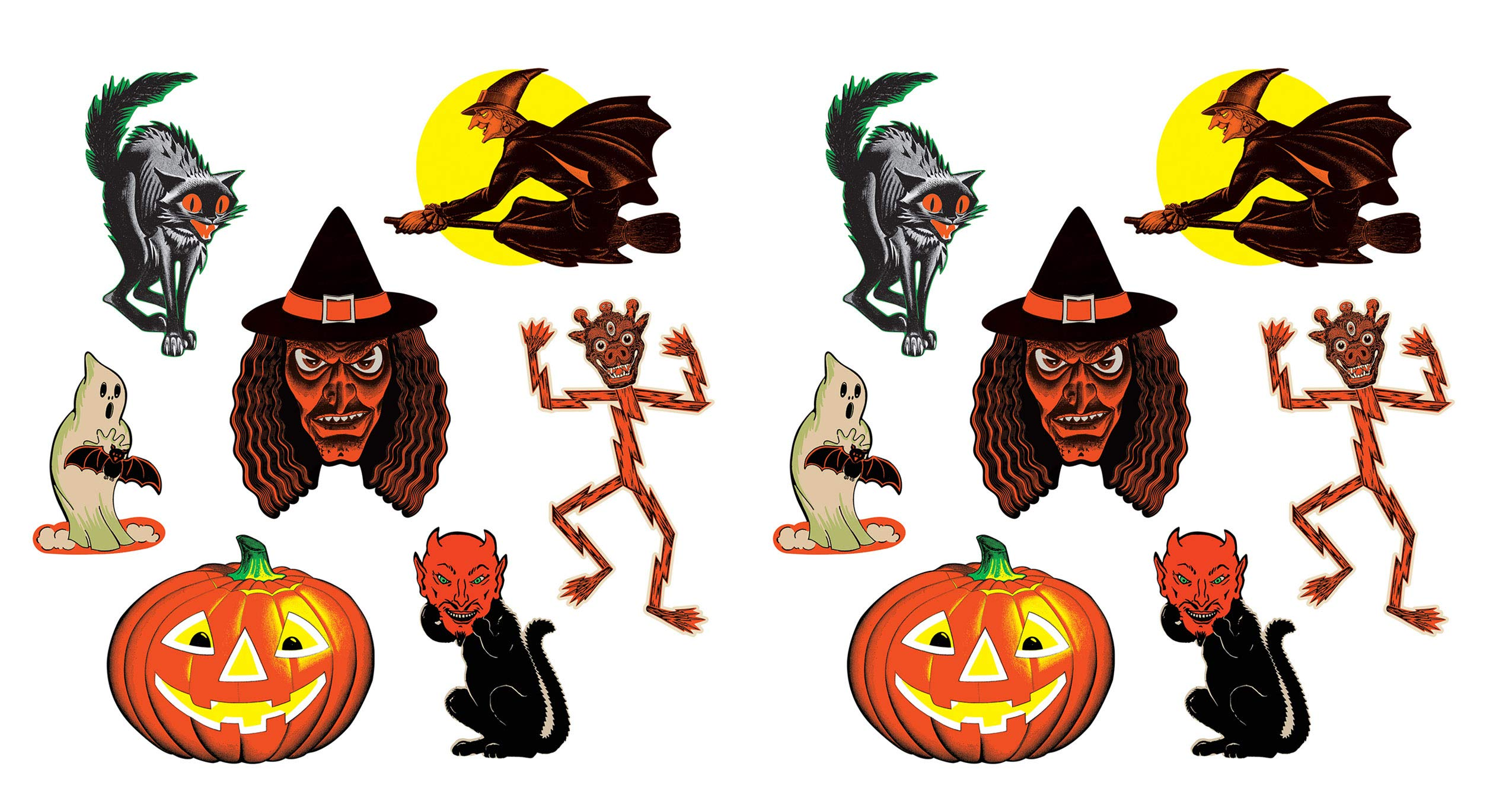 Beistle 00429 Vintage Halloween Classic Cutouts 14 Piece, 9.5'' - 16'', Multicolored