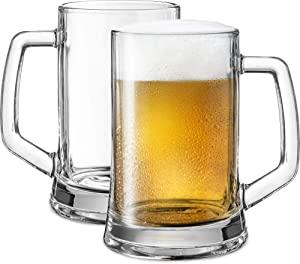 Beer Mugs, by KooK, Solid Glass, Large, Set of 2, 22oz