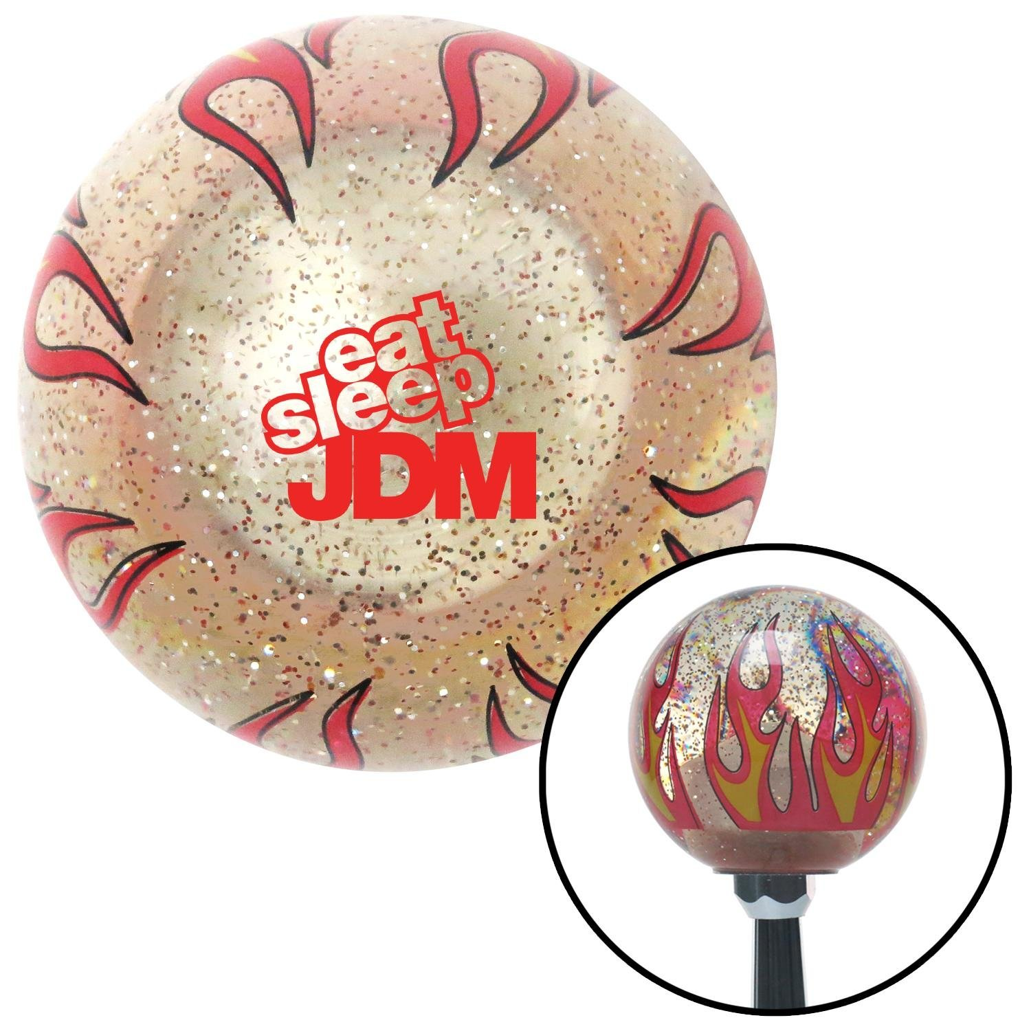 American Shifter 295842 Shift Knob Red Eat Sleep JDM Text Clear Flame Metal Flake with M16 x 1.5 Insert