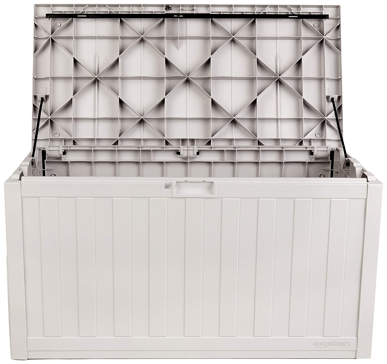 AmazonBasics 99-Gallon Resin Deck Storage Box, Grey
