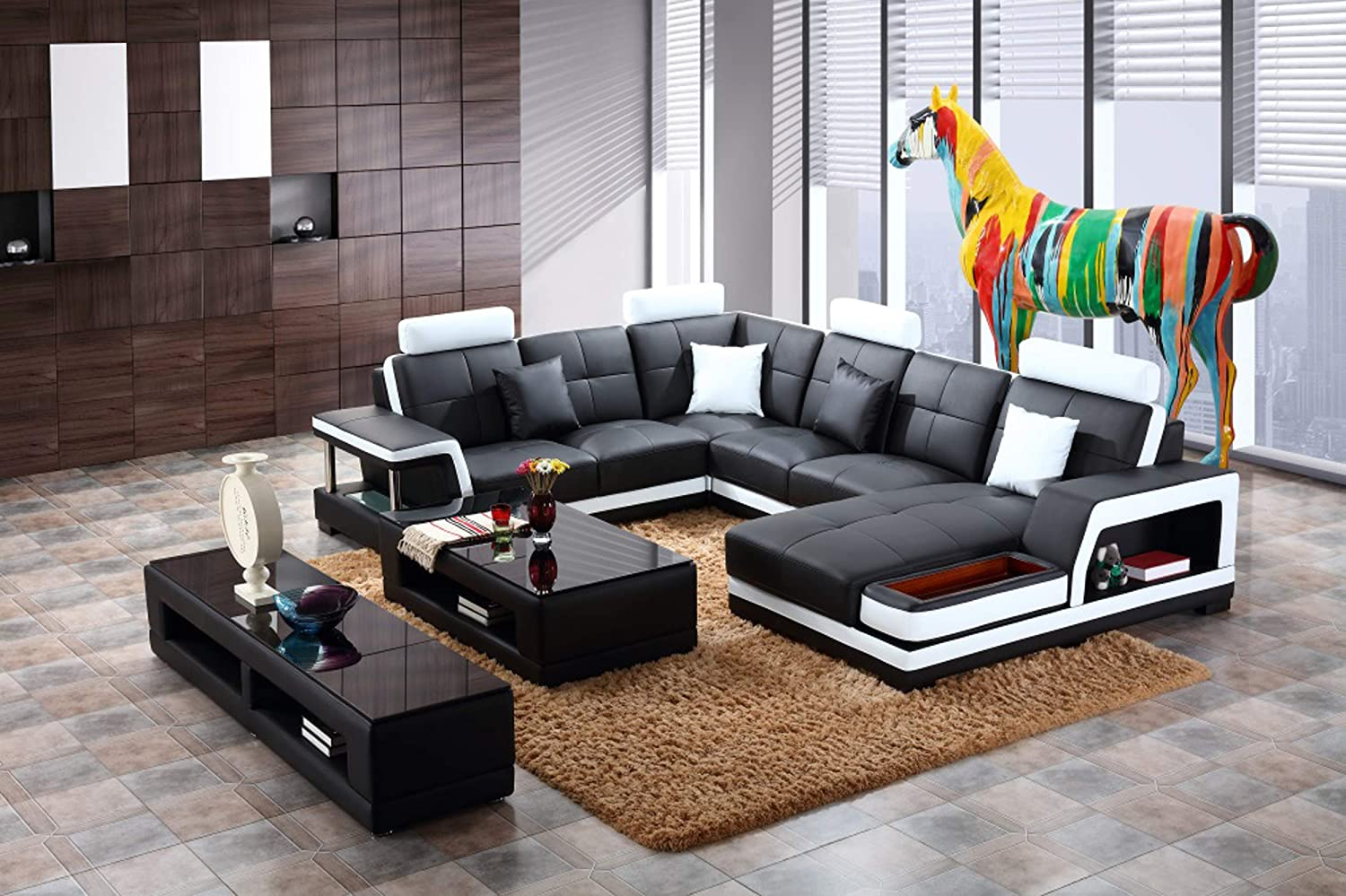 Oakland living t729 sect ct tvs bk black and white contemporary real leather furniture storage shelf coffee table and tv stand modern sectional living room