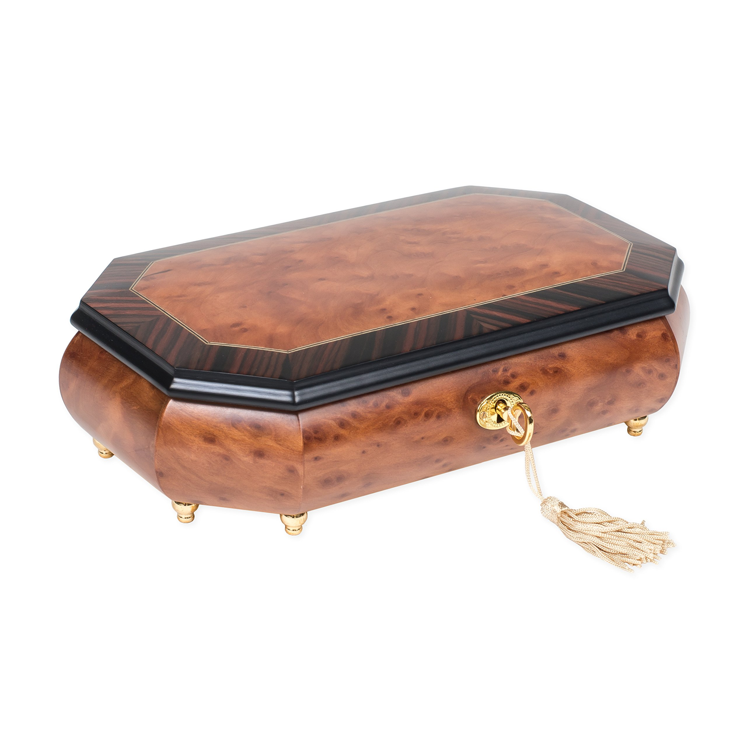 Two Wood Italian Hand Crafted Inlay Trunk Style Music Box Plays Magic Flute