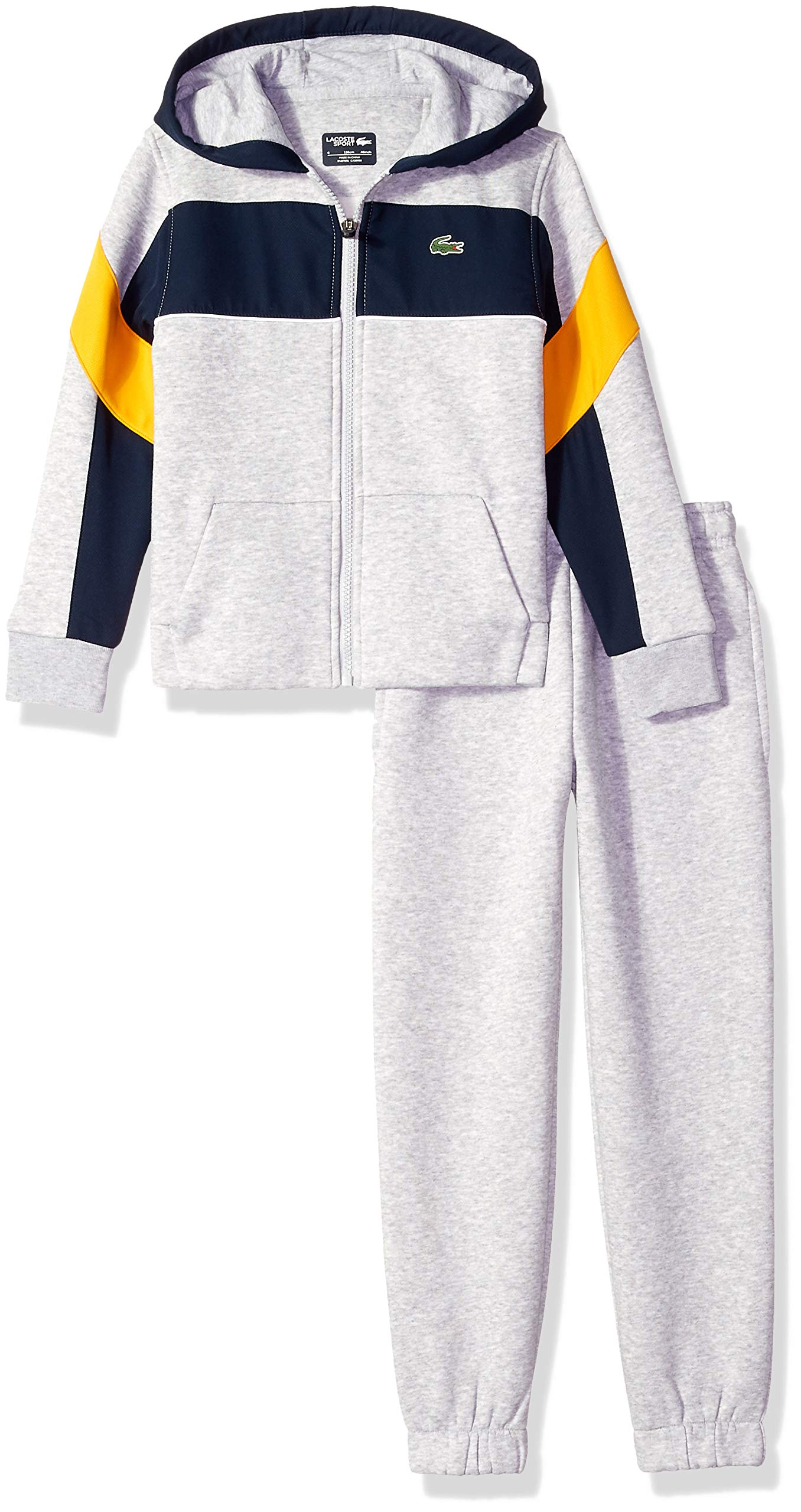 Lacoste Big Boy Sport Mix of Fabrics Color Block Tracksuits, Silver Chine/Navy Blue/PO 16