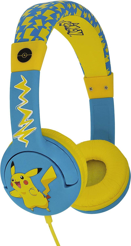 OTL Technologies JUNIOR Kinder Kopfhörer Pokemon Pikachu (gepolsterte Bügel, Lautstärke Begrenzung auf 85 dB, buntes Comic Design, für Jungen und