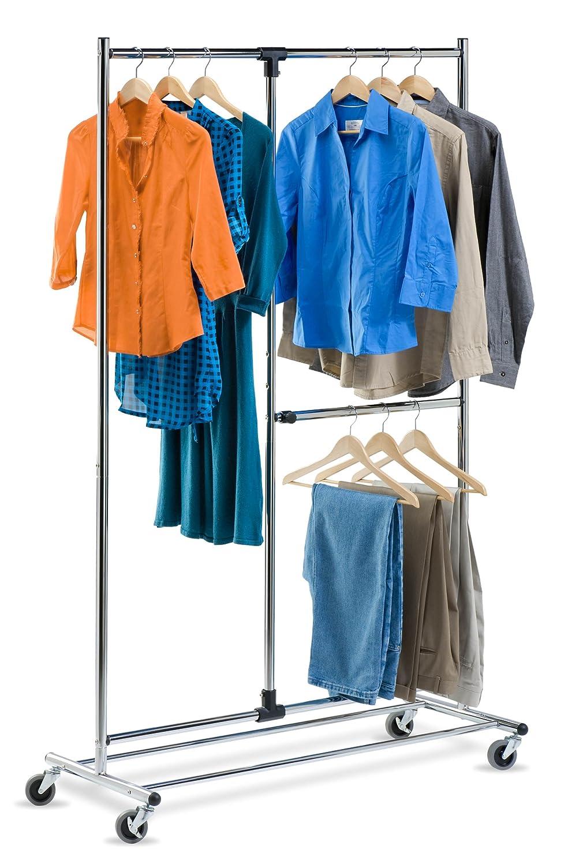 Amazon.com: Honey Can Do GAR 01702 Dual Bar Adjustable Garment Rack,  Chrome, 80 Inch: Home U0026 Kitchen
