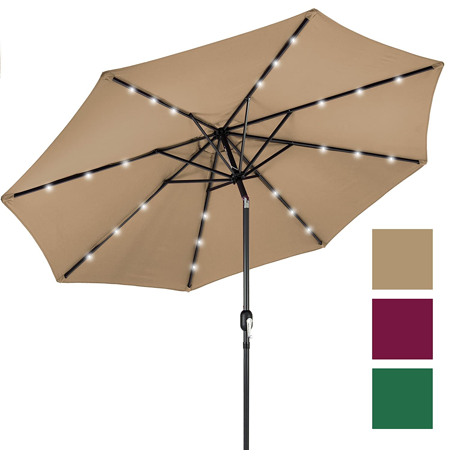Best Choice Products 10' Deluxe Solar LED Lighted Patio Umbrella With Tilt  Adjustment-Tan - Patio Umbrellas Amazon.com