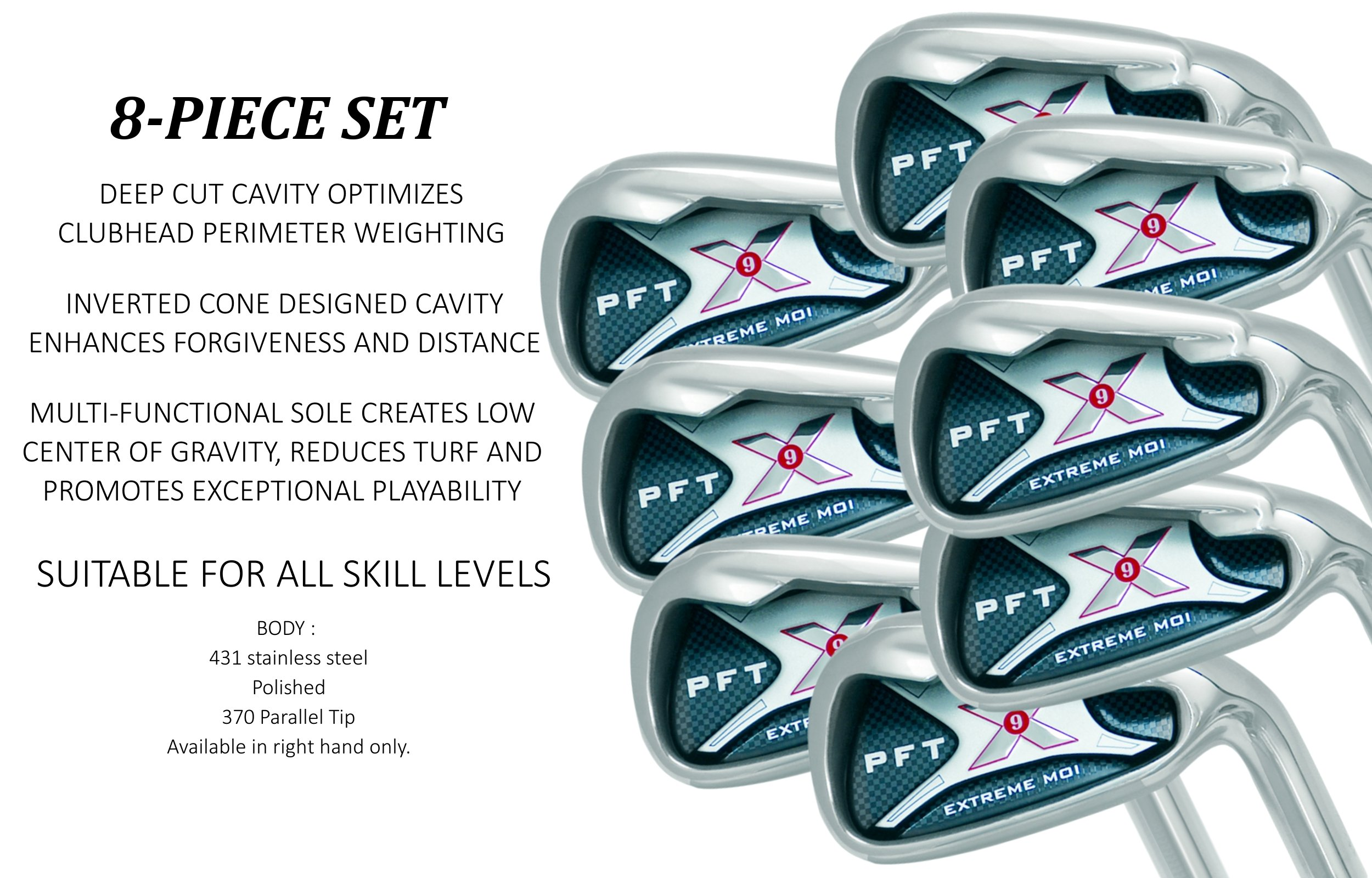 PFT X9 High Moi Extreme 9 Iron Set Golf Clubs Custom Made Right Hand Stiff S Flex Steel Shafts Complete Mens Irons Ultra Forgiving OS Oversized Wide Sole Ibrid Club by PFT X9 (Image #1)