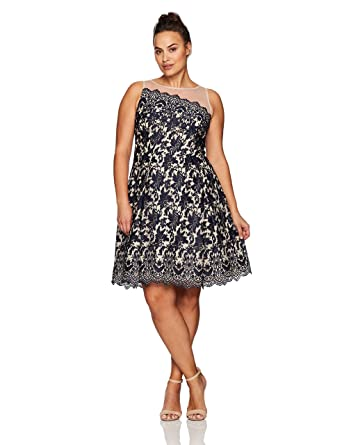 575188109e7 London Times Women s Plus Size Lace Fit   Flare Dress w. Illusion Neckline  at Amazon Women s Clothing store