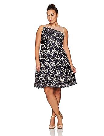 9b8d3458d2c8d London Times Women s Plus Size Lace Fit   Flare Dress w. Illusion Neckline  at Amazon Women s Clothing store