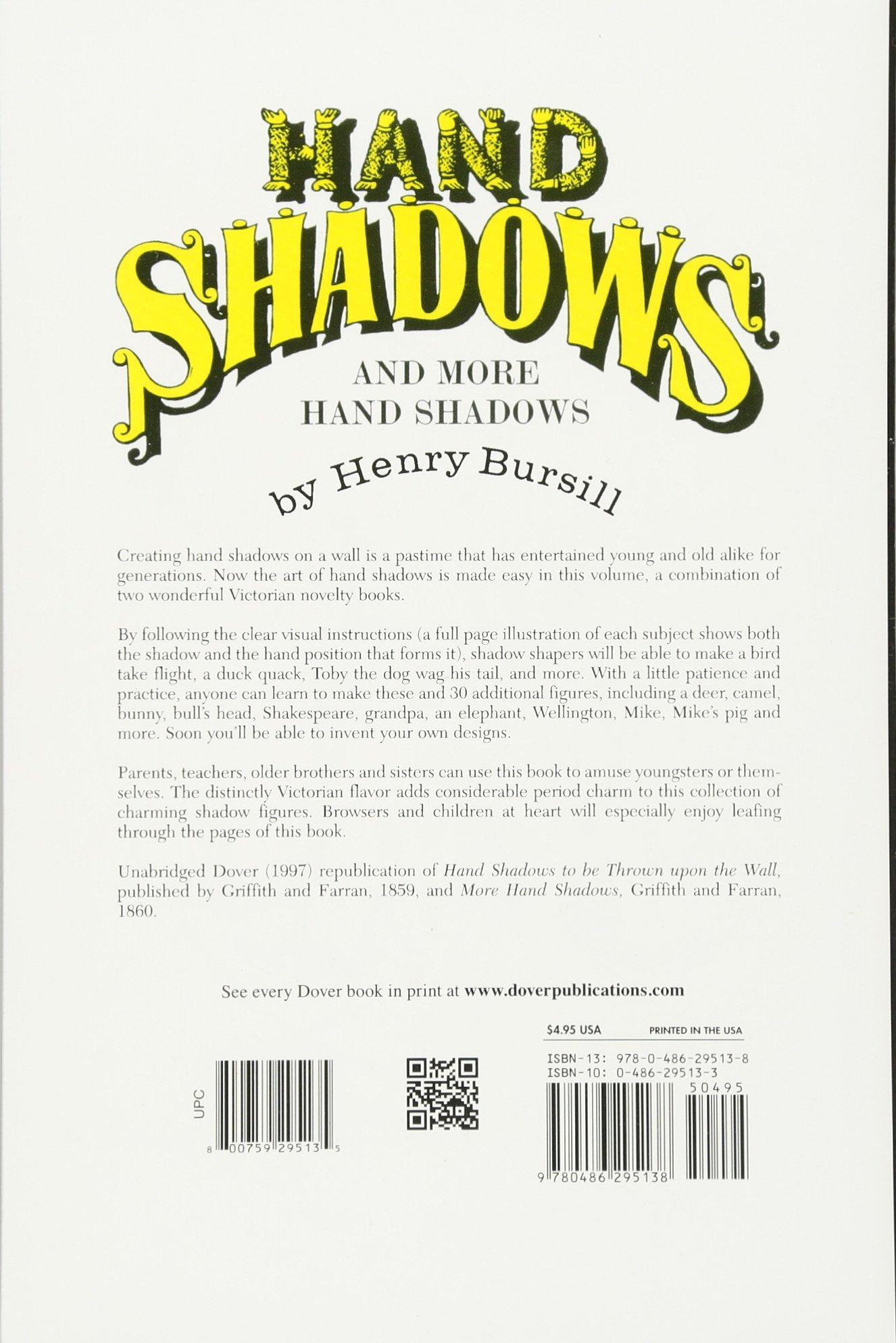 Hand Shadows And More Hand Shadows (dover Children's Activity Books): Henry  Bursill: 9780486295138: Amazon: Books