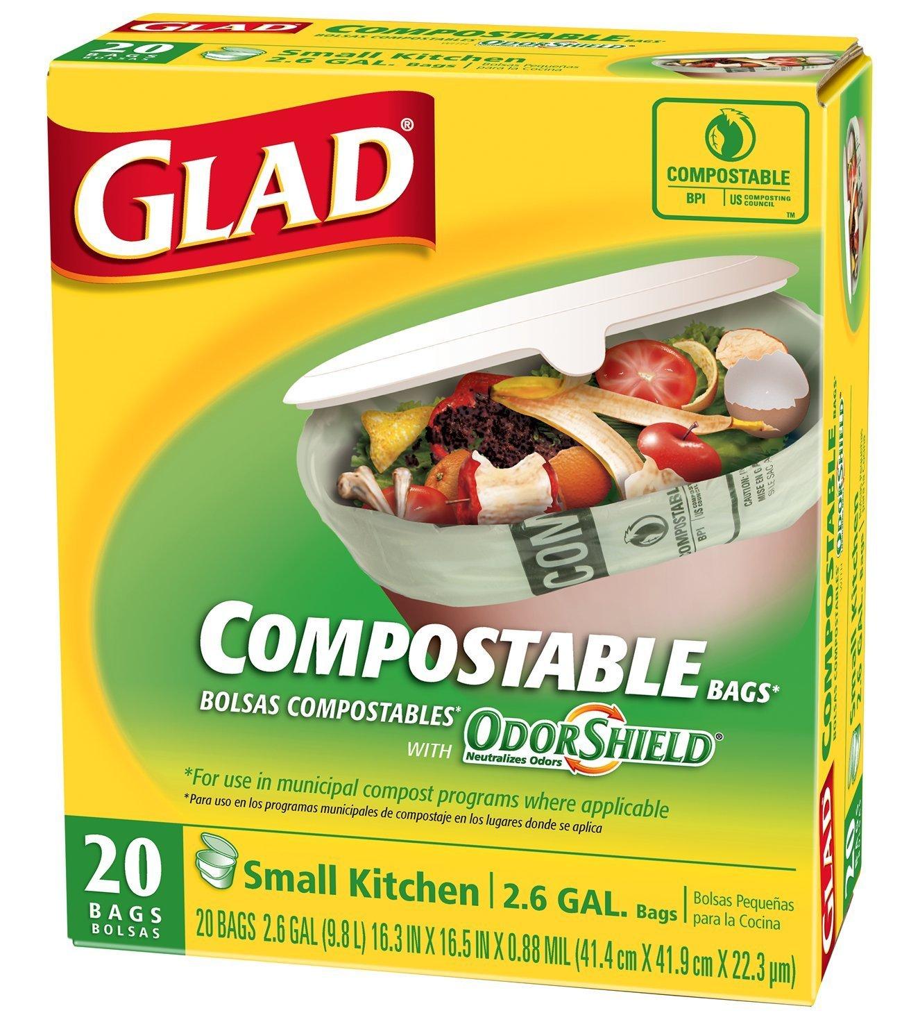 Glad Kitchen Compost Bags - OdorShield 2.6 Gallon 100% Compostable Green Trash Bag, Febreze Fresh...
