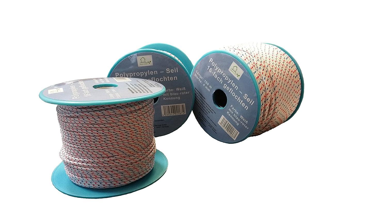 Corde polypropylène rouleau – blanc/bleu/rouge 6 mm 50 m corde multifonctionnelle, charge de rupture: 380 Kg charge de rupture: 380 Kg JBR Service