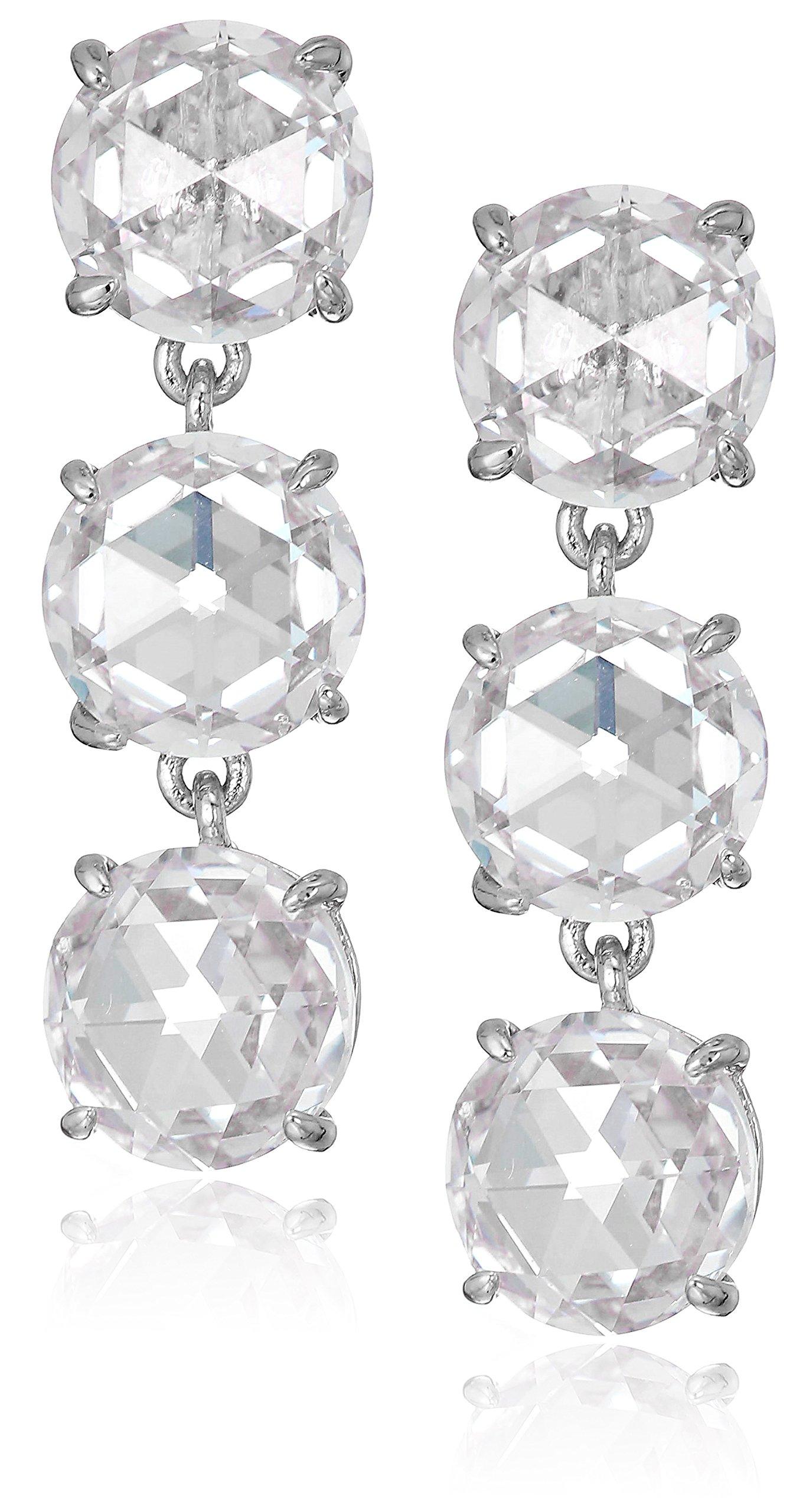 kate spade new york Womens Triple Drop Earrings, Clear/Silver