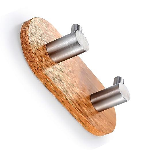 BasicForm Ganchos Adhesivos de Bambú & Acero Inoxidable Ultra Fuerte para Baño y Cocina (2-Gancho x 1 Piezas): Amazon.es: Bricolaje y herramientas