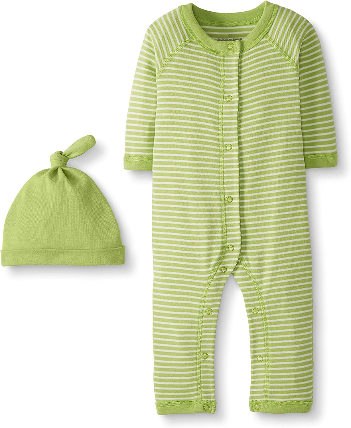 Moon and Back by Hanna Andersson Unisex Baby Snap Front One Piece Coverall with Cap Set