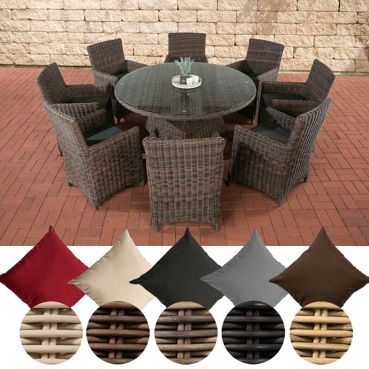 CLP Poly-Rattan Sitzgruppe LARINO XL (8 Sessel + Tisch rund Ø 150 cm), Premiumqualität: 5 mm RUND-Geflecht Bezugfarbe: Anthrazit, Rattanfarbe: Braun-meliert