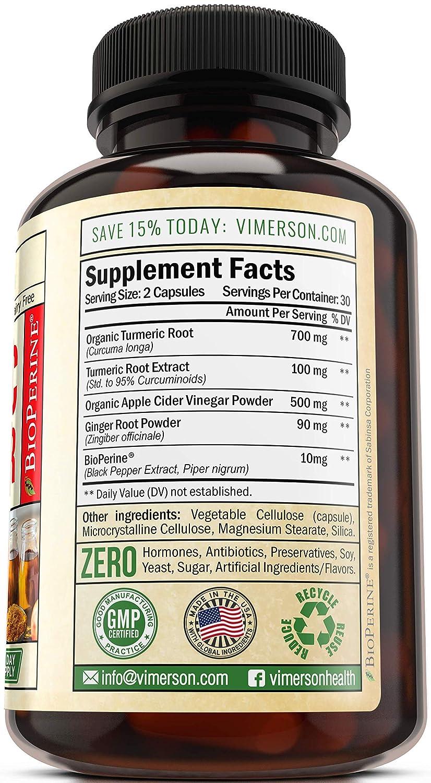 Amazon.com: Complemento de vinagre de Apple Cider Turmeric ...