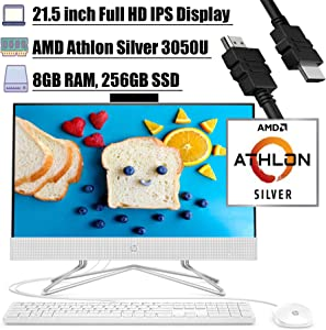 "2020 Flagship HP 22 All in One Desktop Computer 21.5"" FHD Display AMD Athlon Silver 3050U 8GB DDR4 256GB SSD WiFi DVD AMD Radeon Graphics Keyboard and Mouse Webcam Win 10 + iCarp HDMI Cable"