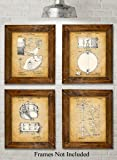 Original Drums Patent Art Prints - Set of Four Photos (8x10) Unframed - Great Gift for Drummers