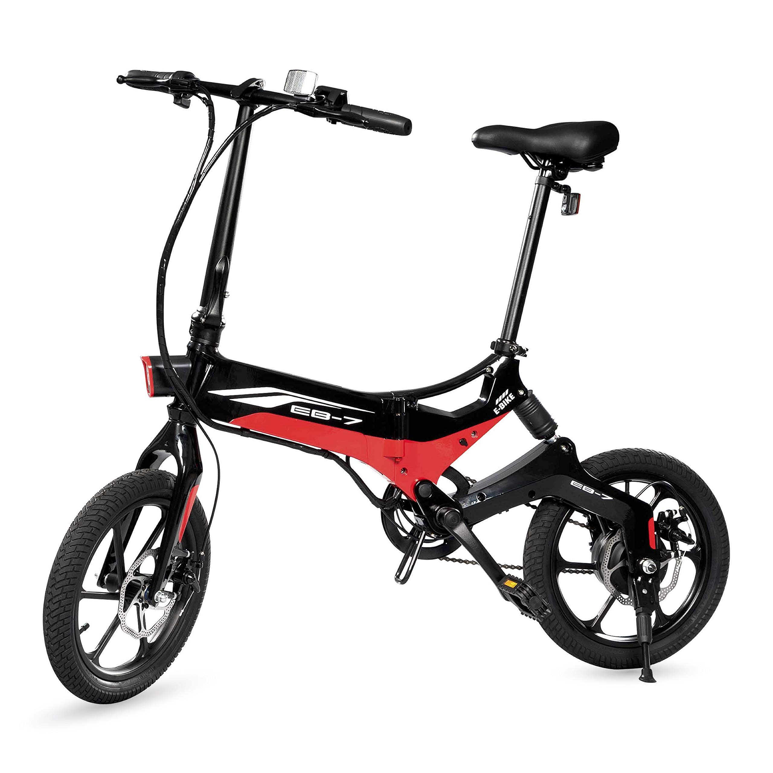 Swagtron Swagcycle EB-7 Elite Folding Electric Bike, 16-Inch Wheels, Swappable Battery with Keylock & Rear Suspension (Black) by Swagtron