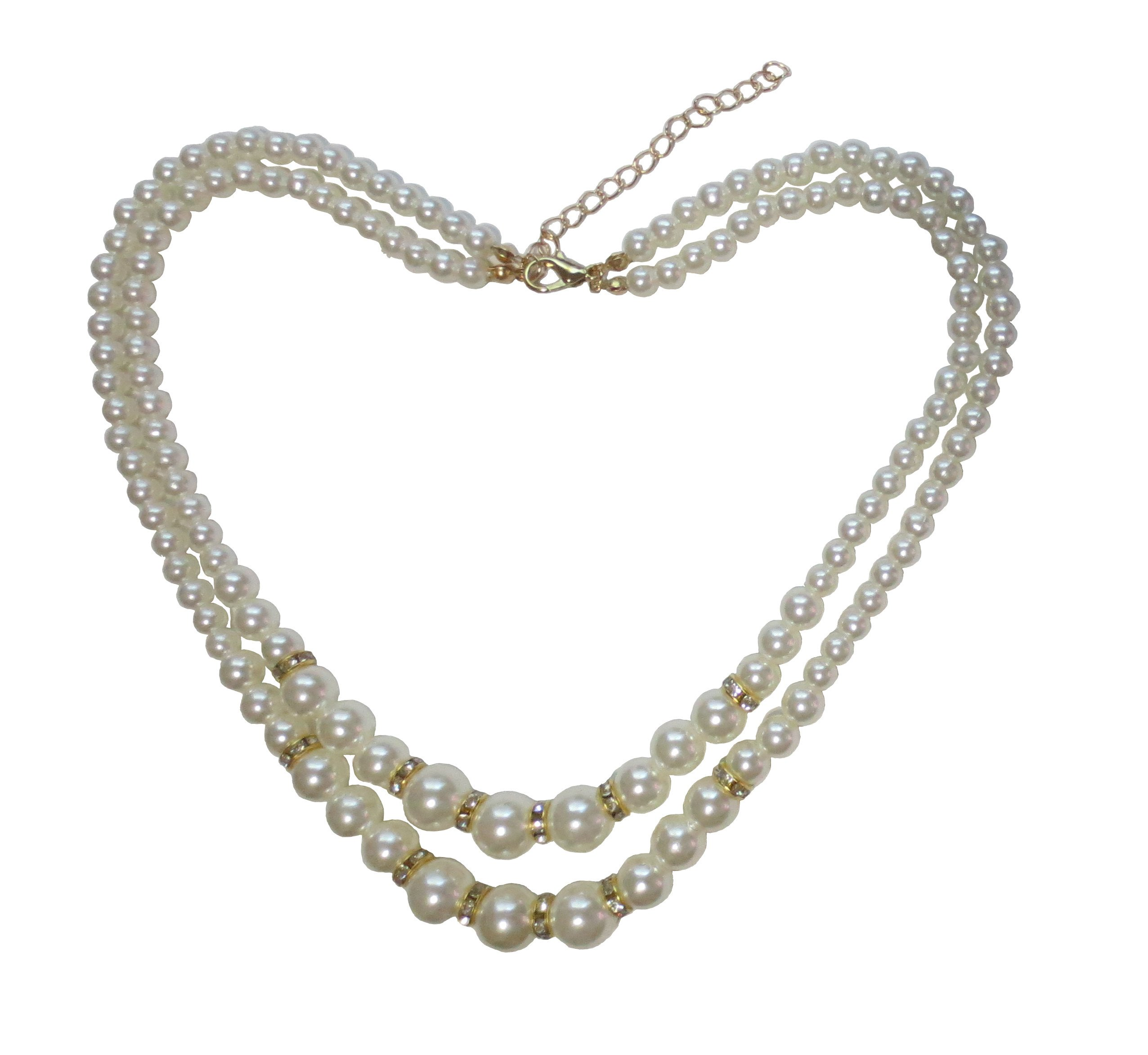 STAYJOY 2-Strand Creamy White Pearl Crystal Gold Fashion Choker Necklace with Extender