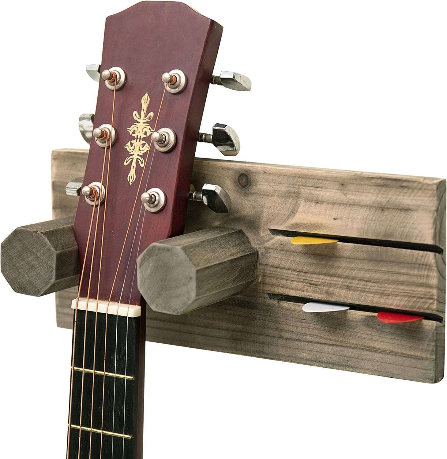 MyGift Wall-Mounted Graywashed Brown Wood Guitar Hanging Rack with Pick Holder