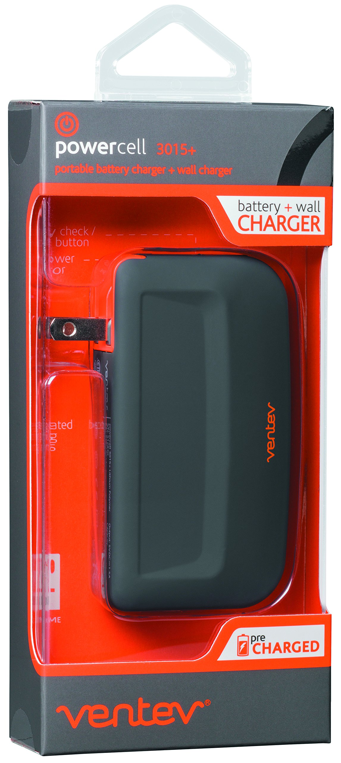 Ventev powercell 3015+, 3000mAh Portable Battery and Wall Charger in One Device by Ventev