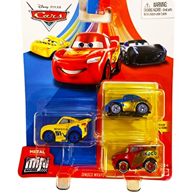Disney Pixar Cars Mini Racers 3 Pack Dinoco Wraps Sally, Lightning McQueen, Cruz Ramirez: Toys & Games