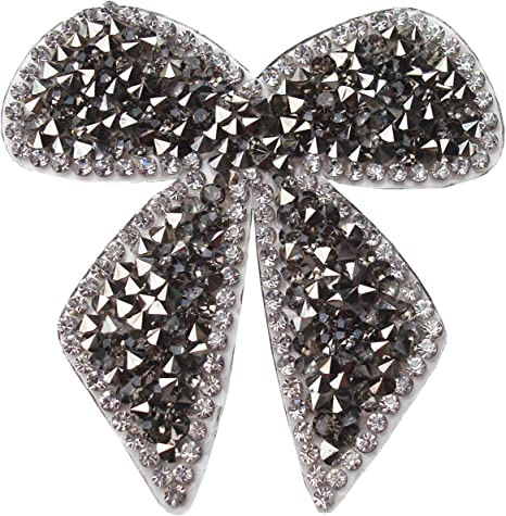 GLASS BEADS RHINESTONE PATCH BOW SEQUIN APPLIQUE