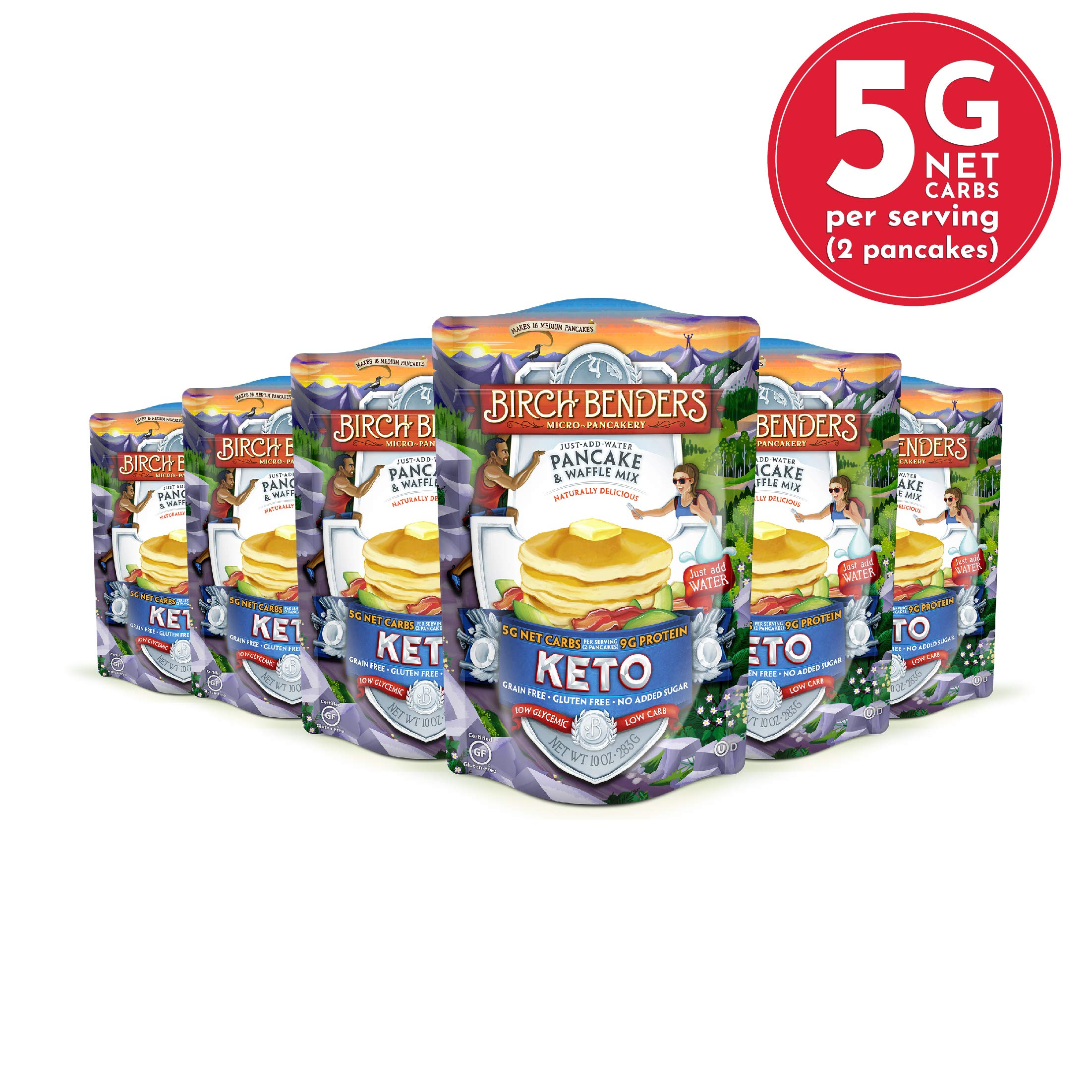 Keto Pancake & Waffle Mix by Birch Benders, Low-Carb, High Protein, Grain-free, Gluten-free, Low Glycemic, Keto-Friendly, Made with Almond, Coconut & Cassava Flour, 6 Pack (10oz each) by Birch Benders
