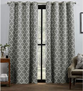 Exclusive Home Curtains Bensen Trellis Blackout Grommet Top Curtain Panel Pair, 52x84, Grey/White