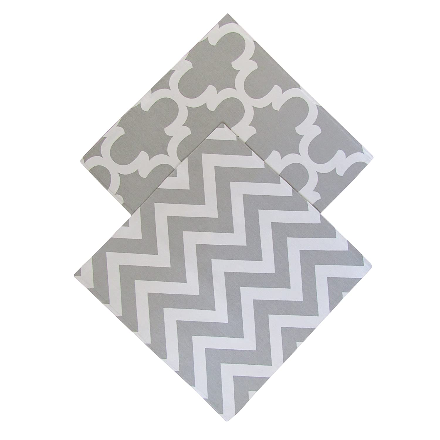 "Crabtree Collection Reversible Table Topper Set by The 2-Pack Table Topper Set in Timeless Grey & White 100% Cotton Double Sided 19""X19"" Table Toppers for Any Special Occasion