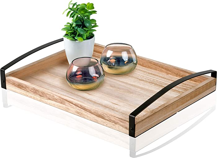 Kunuz Trendz Large Ottoman Tray - Vintage Wooden Food Server for Dinner Parties and Breakfast in Bed - Sturdy Paulownia Wood with Metal Handles - Perfect Rustic Gift, Decor, Table Accent - 16