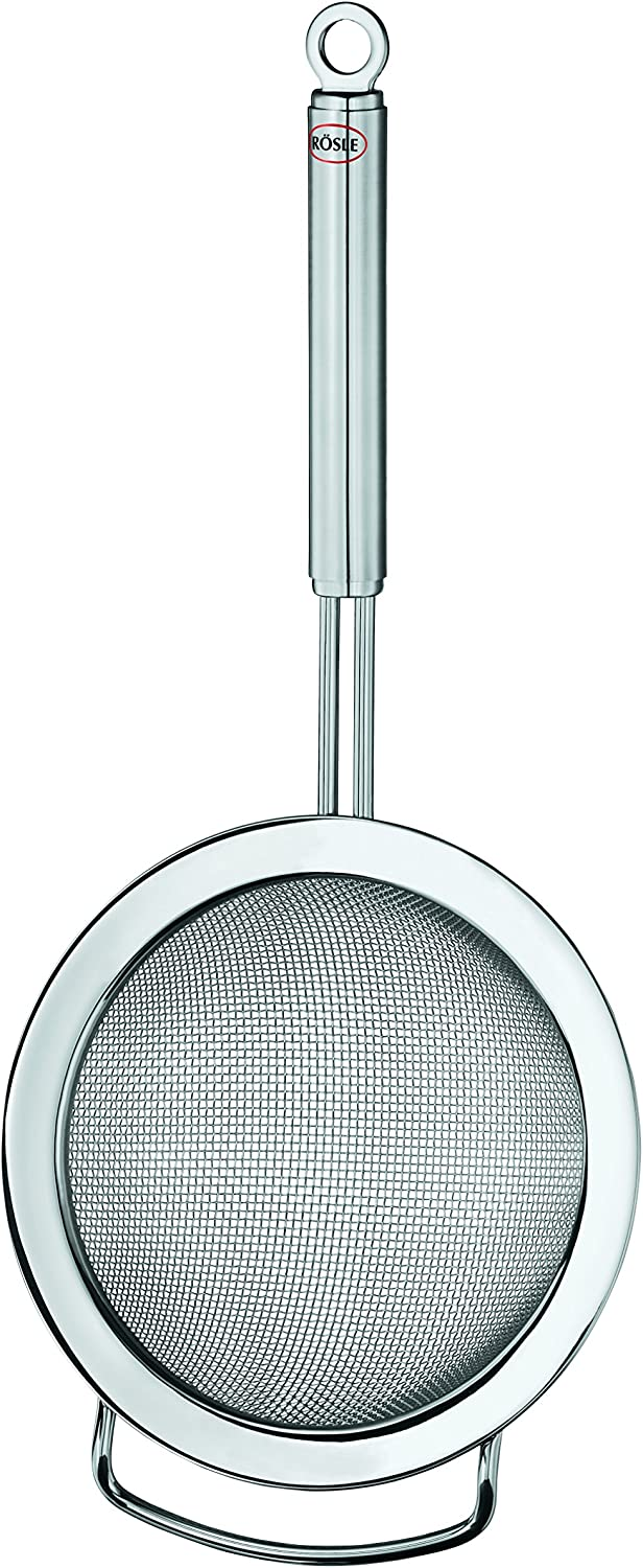Rösle Stainless Steel Round Handle Kitchen Strainer, Coarse Mesh, 7.9-inch