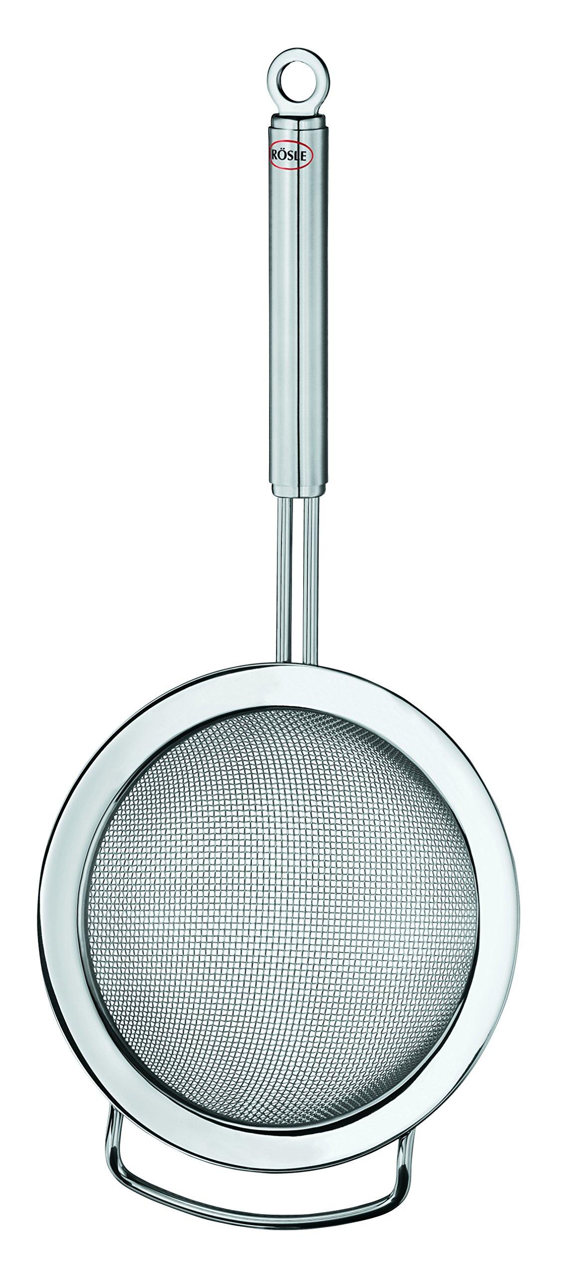 Rösle Stainless Steel Round Handle Kitchen Strainer, Coarse Mesh, 7.9-inch