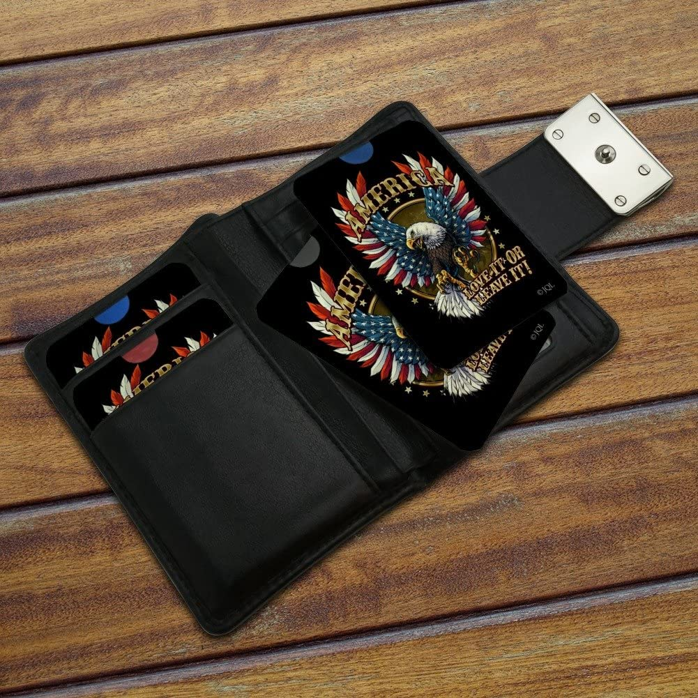 America Love It Or Leave Eagle USA American Flag Credit Card RFID Blocker Holder Protector Wallet Purse Sleeves Set of 4